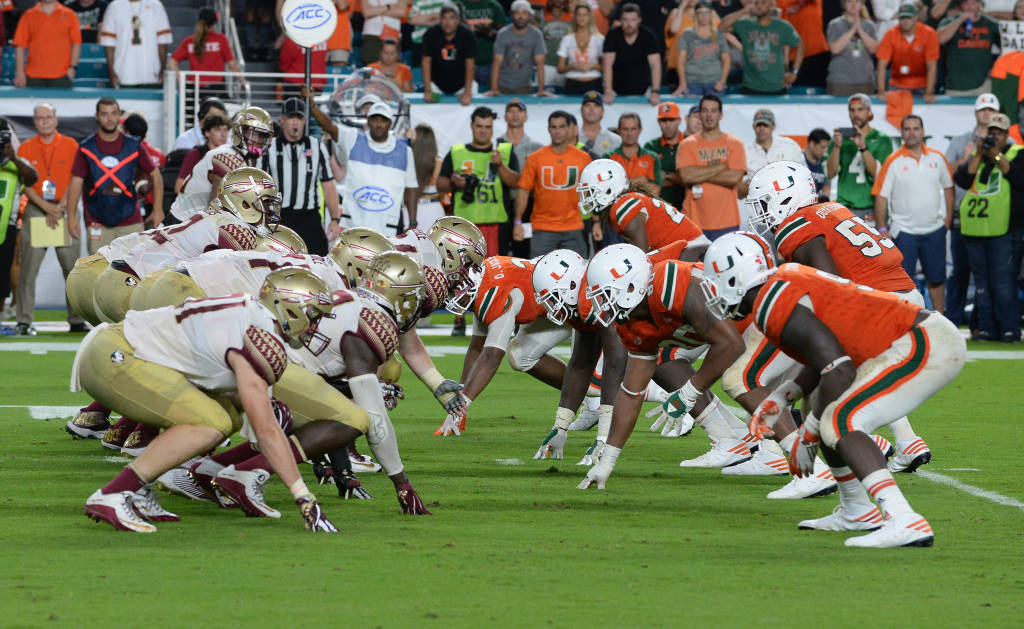 3 Florida State traveled to the old Orange Bowl seeking revenge against the 2 Miami Hurricanes 46 weeks after the first soulcrushing first Wide Right